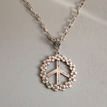 Peace Sign Symbol Necklace with Daisy Flower Pendant Long Silver Chain Retro Sweater Necklace