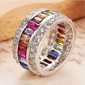 DCCK0OQ 9.6ct Size 6-10 amazing Princess 925 silver cut Ruby Emerald Sapphire & Topaz Multicolor Gemstone Engagement Ring