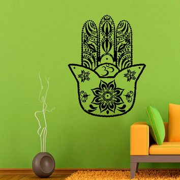 Fatima Hand Wall Decals Indian Hamsa Hand Lotus Stickers Mandala Om Oum Sign Design Home Vinyl Decal Sticker Art Mural Bedroom Decor KG185
