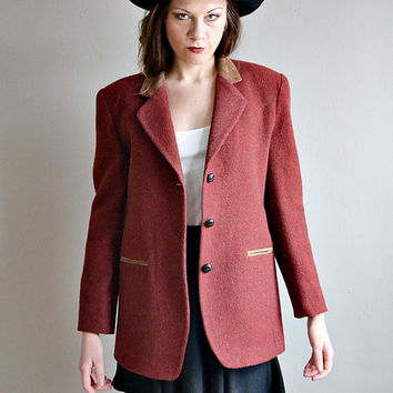 Vtg BURGUNDY wool blazer coat // boyfriend blazer over size TAN faux SUEDE collar structured wool jacket coat