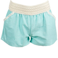 Mint Elastic Shorts