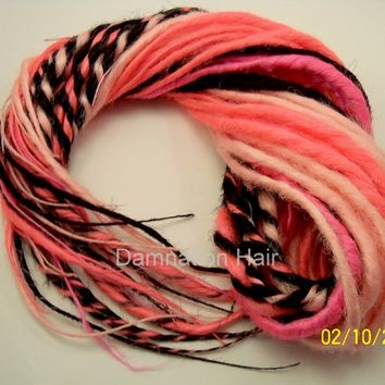 80 Synthetic Dreads Hot Pink Black Dreadlock Kit or Falls