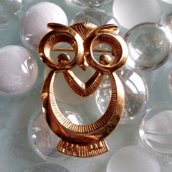 Vintage Owl Brooch Modern Abstract Big Eyes