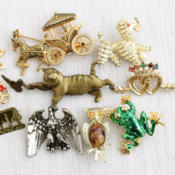 Vintage Figural Brooch Lot - 9 Retro Silver & Gold Tone Animal Costume Jewelry Pins... Dog, Cat, Owl, Cow, Horse / Pin Destash