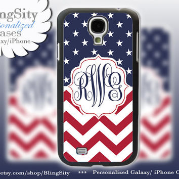 Red White Blue Monogram Galaxy S4 case Galaxy S5 Case Note 2 3 S3 Cover American Flag Stars Chevron Zig Zag Personalized Gift
