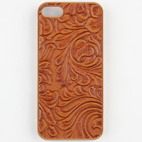 Floral Embossed Iphone 5/5S Case Cognac One Size For Women 23983440901