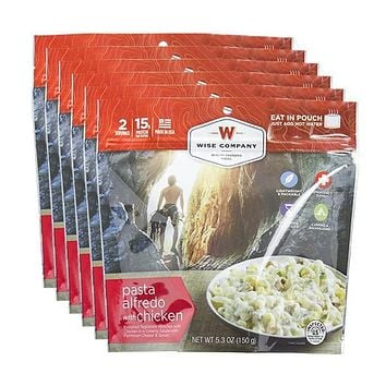Wise Outdoor Pasta Alfredo with Chicken Camping Food - Pack of 6