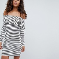 ASOS DESIGN Tall long sleeve bardot bodycon dress in stripe at asos.com