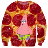 Patrick Star pizza pepperoni Crewneck hoodies men/women funny Cartoon 3d sweatshirt casual Pullover tops plus size S-5XL
