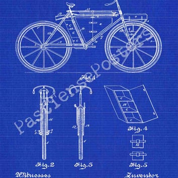 Bicycle Patent Print - Patent Poster - Velocipede - Bike Patent - Faux Vintage