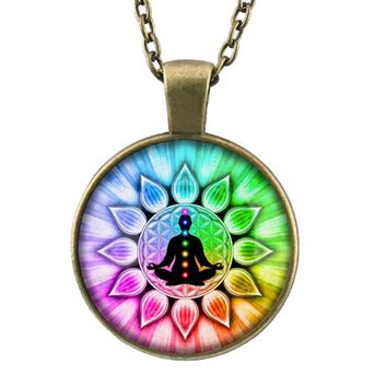 2018 New Colorful Flower of Life chakras Cabochon Meditation Buddha Glass Pendant  Chain Necklace for Women/ Men