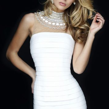Beaded Short Mini Dress by Sherri Hill