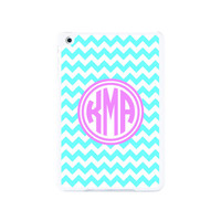 Stylish Blue and Pink Monogram Chevron iPad Mini 2 and iPad Mini Case