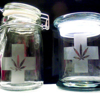 Etched Glass Stash Jar - Weed Glass Bong Marijuana Choose A Style