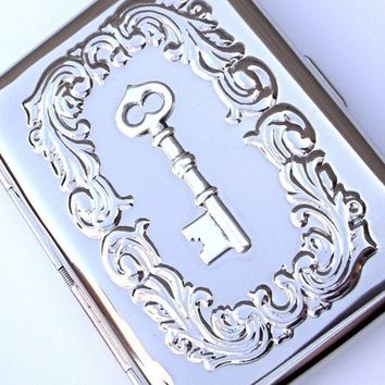 Cigarette Case Skeleton Key Gothic Victorian Steampunk Small Vintage Inspired Style Silver Plated Metal