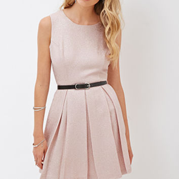 FOREVER 21 Metallic Skater Dress Blush/Gold