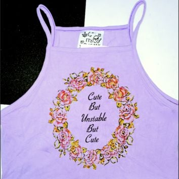 SWEET LORD O'MIGHTY! CUTE BUT UNSTABLE CROP TANK IN PURPLE