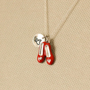 Ruby red slippers necklace.wizard of oz charm necklace, magical shoes, personalized initial necklace. sterling silvr necklace. No.131