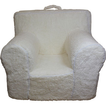 Oversize Cream Sherpa Chair Cover for Foam Childrens Chair