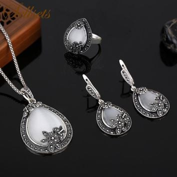 Sellsets Vintage Silver Color Jewellery Water Drop Shape Opal Jewelry Sets Crystal And Natural Stone Necklace Earrings Ring Set