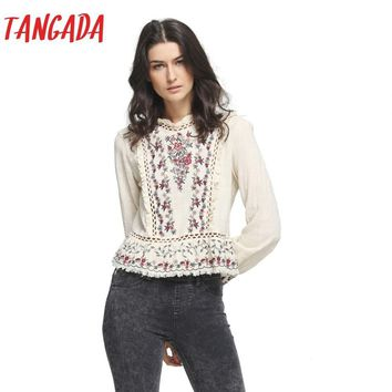 Tangada Fashion Women Cotton Linen Floral Embroidery Blouses Shirt Boho Ethnic Long Sleeve Shirts Vintage Retro Casual Tops
