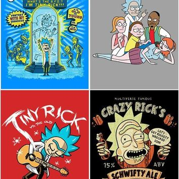Set of 4 Rick And Morty Geeky Wall Plaques Home Decor Cartoon Funny