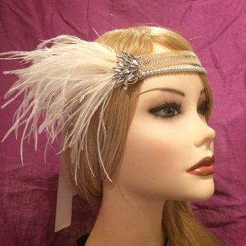 1920s art deco crystal great gatsby flapper headband silver pearls ivory white ostrich feather 20's art deco 1920's Rhinestone headpiece