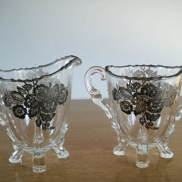 Viking Glass Silver Overlay Footed Creamer and Sugar, Silver Overlay Footed Creamer and Sugar Vikings and Glass Company