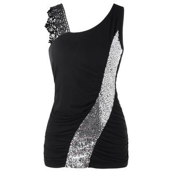 Summer Tank Tops For Women 2018 Tunic Sequined Lace Patchwork One Shoulder Sleeveless Tops Clothes Women haut femme