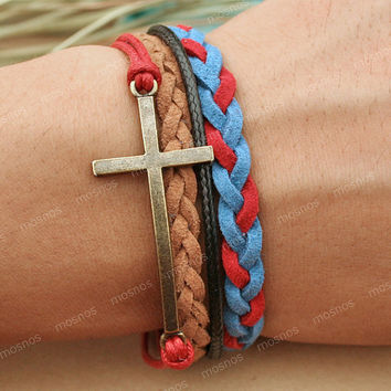 Cross Bracelet- British style bracelet, gift for her, boyfriend gifts, girlfriend gifts