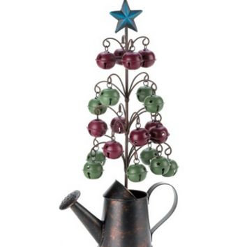 Christmas Tree With Bells Watering Can Display Tree-Bell Christmas Tree-Tabletop Christmas Tree Display
