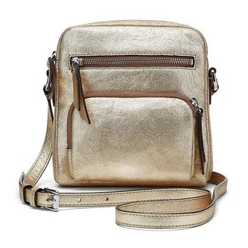Banana Republic Gold Moto Zip Crossbody Size One Size - Light golden