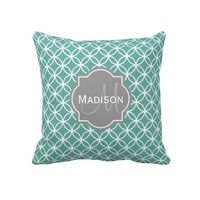 Monogrammed Light Teal Circle Pattern Throw Pillows