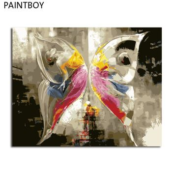 PAINTBOY Framed DIY Digital Oil Painting By Numbers Of Butterfly Painting&Calligraphy Home Decor For Living Room Wall Art