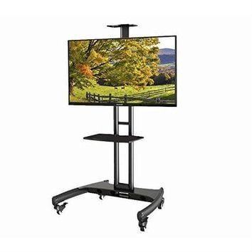 Mobile TV Stand Adjustable Height TV Cart For Up To 65 Inch TV