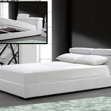 Modrest Logan White  Leatherette  Cal. King Bed with Storage   VG2TAU01-39-WHT