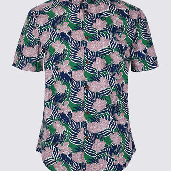 Slim Fit Large Floral Print Shirt | Limited Edition | M&S