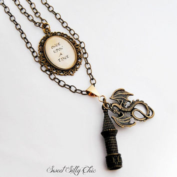 Once Upon A Time Fairy Tale Necklace, Castle Dragon Cabochon Double Layered Necklace, Long Antique Brass Necklace