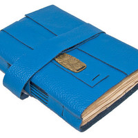 Blue Leather Journal with Tea Stained Pages