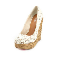 FLORAL CROCHET JUTE WEDGE PUMP