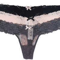 Nanette Nanette Lepore Women's 3 Pack Sexy No Show Sheer Floral Lace Thong Panties