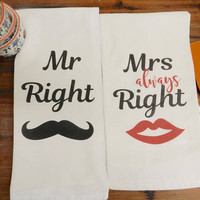 Newlywed Bridal Shower Tea Towel Set Wedding Kitchen Towel Gift Mr and Mrs Right