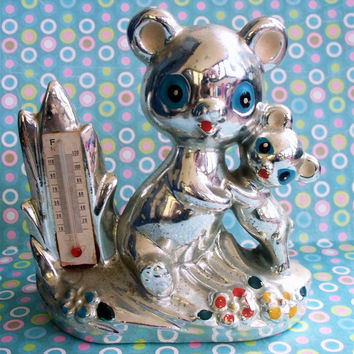 Vintage Kitsch Mid Century Teddy Bear Mama Bear and Baby Bear Silver Tone Ceramic Thermometer Figurine