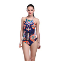 Swimwear Women Fashion Back Cutout floral print  Bikini tassel Summer Sexy  Swimsuit Push Up Bikini Bathing Suit SJ15303