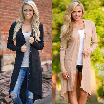 Women Cardigan Loose Sweater Long Sleeve Knitted Cardigan Outwear Jacket Coat [8833479692]