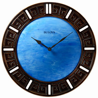Bulova Oceanic Large Decorative Wall Clock - Domed Fire Glass Dial
