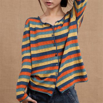 Korean Newly Thin Ladies Sweater Spring Fashion Striped Women Cardigans Long Sleeve V-neck Cotton  Knitted Sweaters 63966