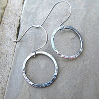 Silver Hoop Earrings Fine Silver Hammered Oxidized Sterling Silver Jewelry