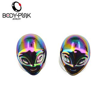BODY PUNK Flesh Tunnels Irridescent Alien Pyrex Glass Doulbe Flare Expanders Ear Plugs Body Piercing Jewelry alargador de orelha