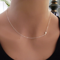 Small Sideways Cross Necklace, Sterling Silver, Taylor Jacobson, Celebrity Inspired